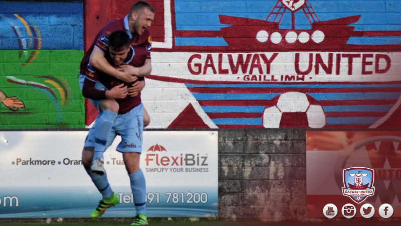 Vinny Faherty goal celebration with Enda Curran v Longford Town 29-4-16